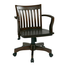 Office Star Products   Deluxe Wood Bankeru0027s Chair With Wood Seat In  Espresso Wood Finish