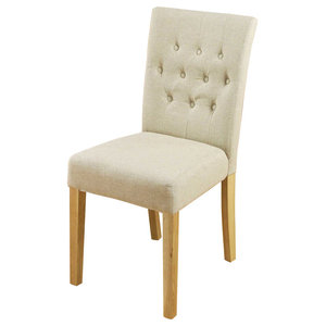 Flare back Upholstered Oak Dining Chairs, Set of 2, Biscuit