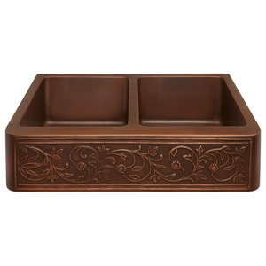 Copper Farmhouse Embossed Apron Sink, Double