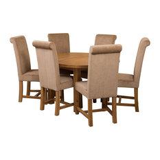 Edmonton Oak Extension Dining Table, 6 Washington Chairs, Beige Velvet Effect