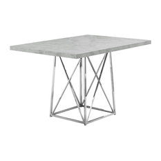 """Monarch - Monarch 36""""x48"""" Dining Table Chrome Metal, Gray Cement Finish - Dining Tables"""
