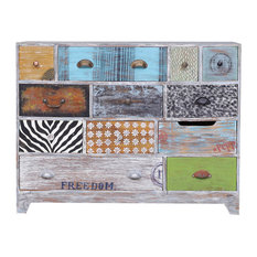 Goshen Multi-Color Hand Painted Reclaimed Wood 12 Drawer Dresser