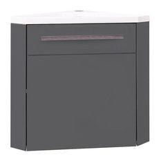 Nino Corner Bathroom Vanity Unit, Grey, 40 cm