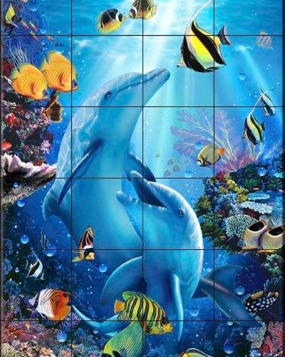 Christian reese lassen dolphin tile murals for Dolphin tile mural