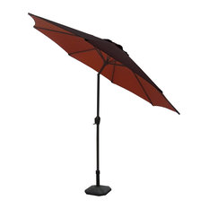 Outdoor Patio Market Umbrella with Hand Crank and Tilt, Brown and Rust, 9'