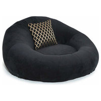 Contemporary Round Lounge Seat is Soft, Durable, Long Lasting Firmness, Black