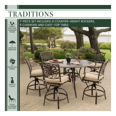 """Traditions 7-Piece High-Dining Set With 56"""" Cast-top Table, Tan"""