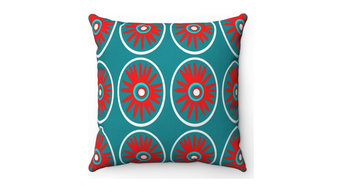 Mid Century Modern Outdoor Pillow, Red and Turquoise- Wilson