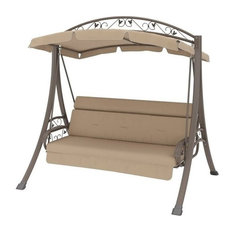 Bowery Hill Patio Swing with Arched Canopy in Beige