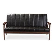 Nikko Black Faux Leather Wooden 3-Seater Sofa