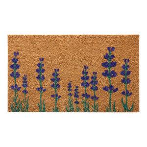 "Purple English Lavender Flower Doormat, 18x30"""