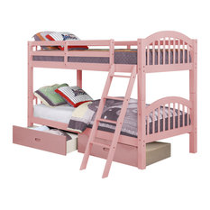 Dana Bunk Bed, Twin Over Twin, Pink, Drawers Included