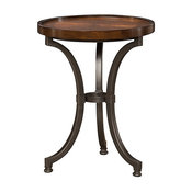Barrow Round Chairside Table by Hammary, Rich Amber
