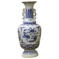 Chinese Blue White Porcelain Oriental Flower Birds Graphic Vase Hws190