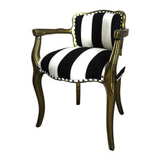 Accent Arm Chair With Gold Painted Wood Frame