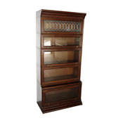Consigned Vintage Mahogany Barrister Bookcase Display With Leaded Glass
