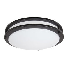 Maxxima 14-inch Black Round LED Ceiling Mount Fixture - 3000K Warm White, 1650 L