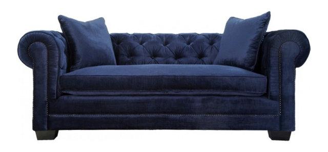 Norwalk Velvet Tufted Chesterfield Sofa, Navy