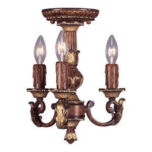 Mini Chandeliers 3 Light With Verona Bronze With Aged Gold Leaf Accents