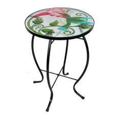 Hand-Painted Glass and Metal Plant Stand, Hummingbird