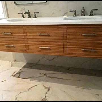 Horizontal Grain Rift-Sawn White Oak Vanity and Closet Cabinet