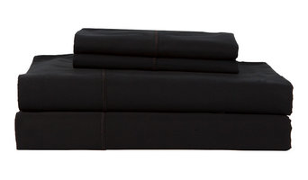 Hotel By Perthshire Solid Sateen Sheet Set, Black, Queen