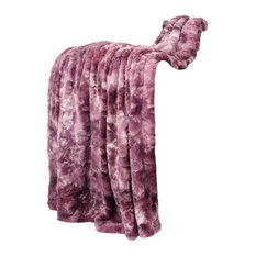 "Tie Dye Double Sided Faux Fur Throws, Purple, 50"" X 60"""