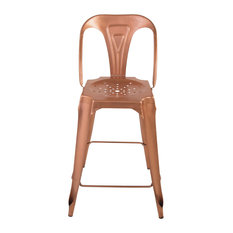 Indus Curved Bar Stool, Set of 2, Bright Copper