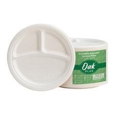 "Oak PLUS White Sugarcane Sectional Plates, 300 Pack, 9"""