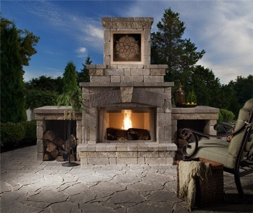 Outdoor Fireplace- Stone Tile feature