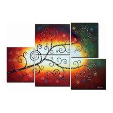 """Celestial Tree"" Canvas Wall Art, Red, 5-Piece Set"