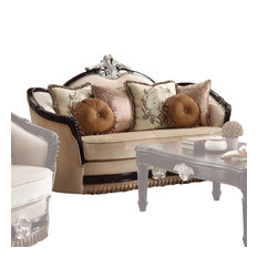 Curved Design Loveseat With Scalloped Backrest/Crown Top Beige