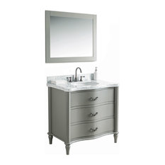 Carley Solid Wood Vanity With Mirror and Faucet, Gray, 36""