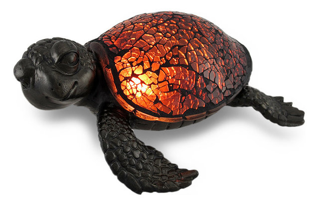 Amber Crackled Glass Mosaic Sea Turtle Accent Lamp