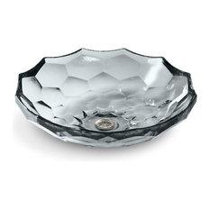 Kohler Briolette Vessel Faceted Glass Bathroom Sink, Ice