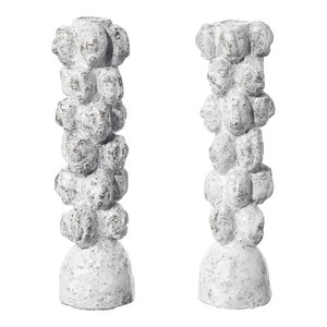 Handmade Ceramic Guardian Candlesticks by Camilla Bliss, White, Set of 2
