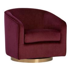Hazel Swivel Lounge Chair, Burgundy Sky