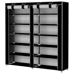 Modern Stylish Shoes Storage Rack, Waterproof Fabric With 7-Inner Shelf, Black