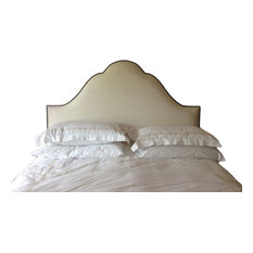 Cream Linen Headboard With Nail Accents Full Size