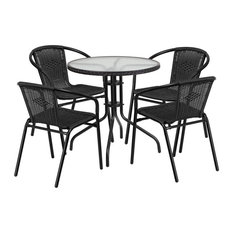 28'' Round Glass Metal Table With Rattan Edging and 4-Rattan Stack Chairs, Black