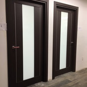 Modern Swing Door with Laminate Insert in Wenge Finish