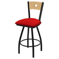 25 in. Voltaire Swivel Stool with Canter Red Seat
