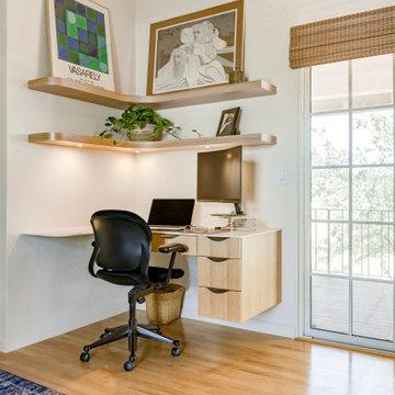 Floating Built In Corner Desk and Display Shelves