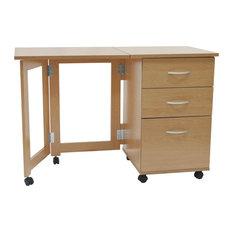 Flipp 3-Drawer Folding Office Filing Desk/Workstation, Beech