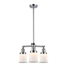 Small Canton 3-Light Chandelier, Polished Chrome, Matte White