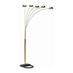 5-Light Arc Floor Lamp in Gold