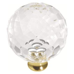 35mm Crystal Palace Crysacrylic Polished Brass Cabinet Knob P35-CA3