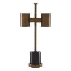 Kiseu Table Lamp, Antique Brass, Black