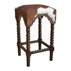 Bobbin Leg Cowhide Bar Stool Set Of 5
