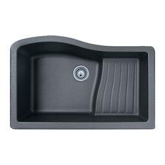 Swan 32x21x10.6 Granite Undermount Kitchen Sink, 1-Hole, Nero